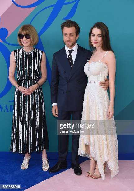 Anna Wintour Francesco Carrozzini and Bee Shaffer attend the 2017 CFDA Fashion Awards at Hammerstein Ballroom on June 5 2017 in New York City