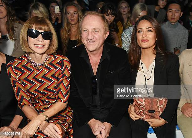 Anna Wintour Francois Henri Pinault and Salma Hayek attend the Hunter Original Spring/Summer 2016 Collection during London Fashion Week at Euston...