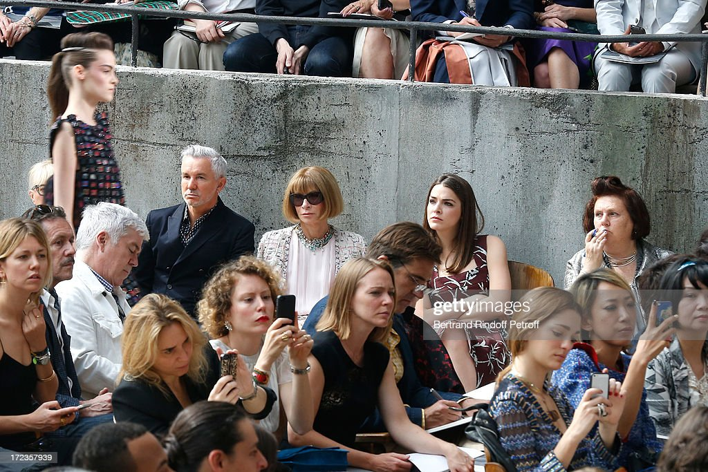Anna Wintour, her daughter and Susie Menkes attend the Chanel show as part of Paris Fashion Week Haute-Couture Fall/Winter 2013-2014 at Grand Palais on July 2, 2013 in Paris, France.