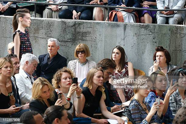 Anna Wintour her daughter and Susie Menkes attend the Chanel show as part of Paris Fashion Week HauteCouture Fall/Winter 20132014 at Grand Palais on...