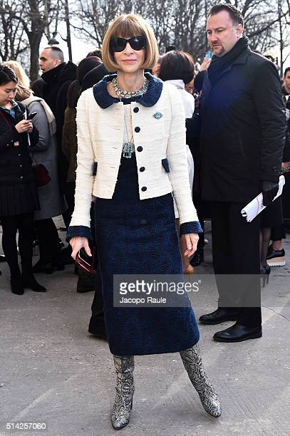Anna Wintour is seen arriving at Chanel Fashion show during Paris Fashion Week Womenswear Fall Winter 2016/2017 on March 8 2016 in Paris France