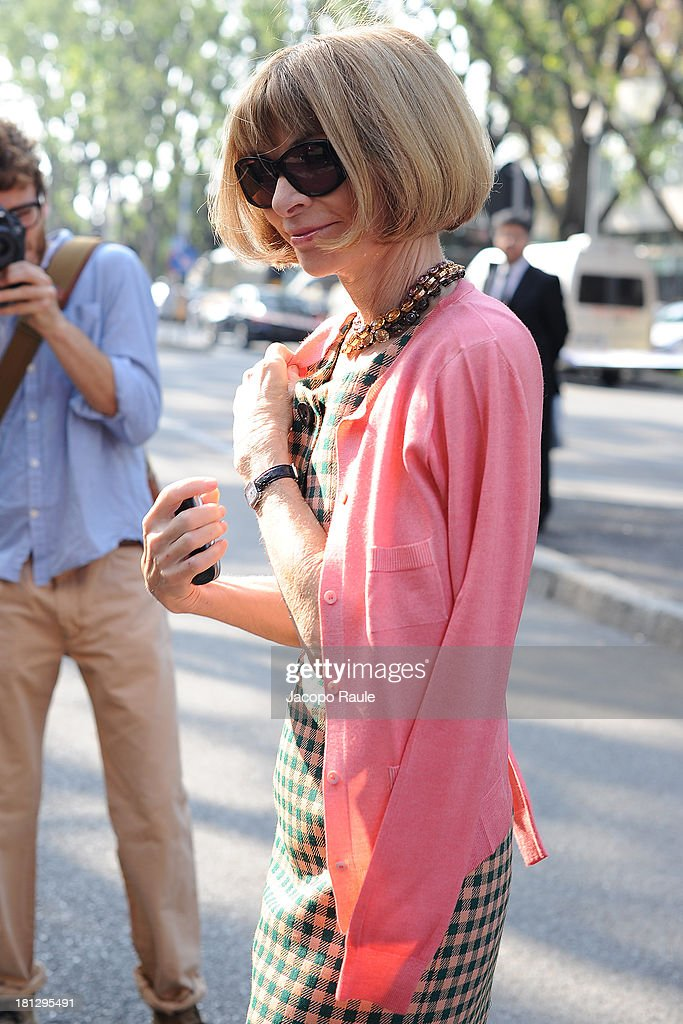 <a gi-track='captionPersonalityLinkClicked' href=/galleries/search?phrase=Anna+Wintour&family=editorial&specificpeople=202210 ng-click='$event.stopPropagation()'>Anna Wintour</a> is seen arriving at Emporio Armani during Milan Fashion Week Womenswear Spring/Summer 2014 on September 20, 2013 in Milan, Italy.