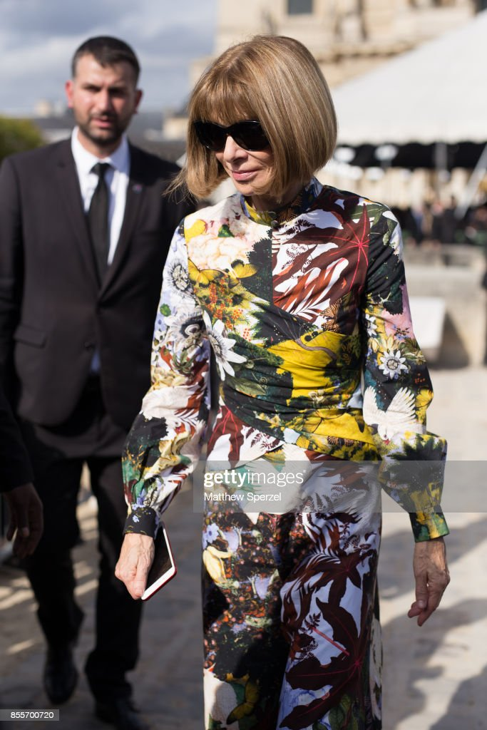 Anna Wintour is seen attending Nina Ricci during Paris Fashion week wearing Nina Ricci on September 29, 2017 in Paris, France.