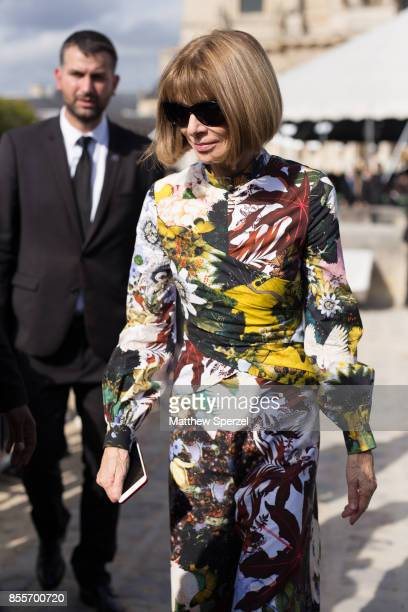 Anna Wintour is seen attending Nina Ricci during Paris Fashion week wearing Nina Ricci on September 29 2017 in Paris France