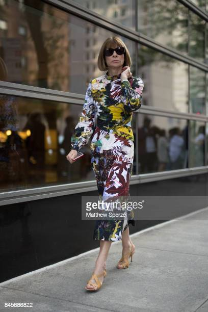 Anna Wintour is seen attending Oscar de la Renta during New York Fashion Week wearing Oscar de la Renta on September 11 2017 in New York City