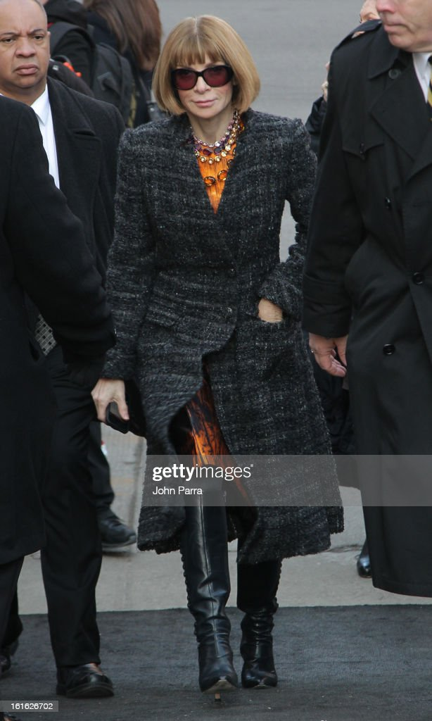 Anna Wintour is seen during Fall 2013 Mercedes-Benz Fashion Week at Lincoln Center for the Performing Arts on February 13, 2013 in New York City.