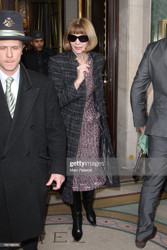 Anna Wintour is seen leaving the 'Meurice' hotel on March 6, 2013 in Paris, France.