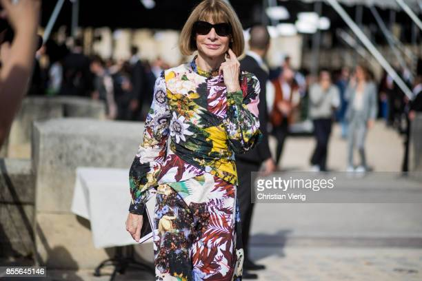 Anna Wintour is seen outside Nina Ricci during Paris Fashion Week Spring/Summer 2018 on September 29 2017 in Paris France