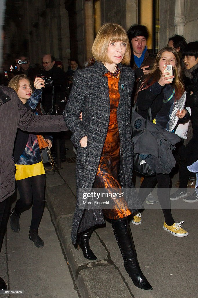 Anna Wintour is sighted at the 'Rochas' Fall/Winter 2013 Ready-to-Wear show as part of Paris Fashion Week on February 27, 2013 in Paris, France.