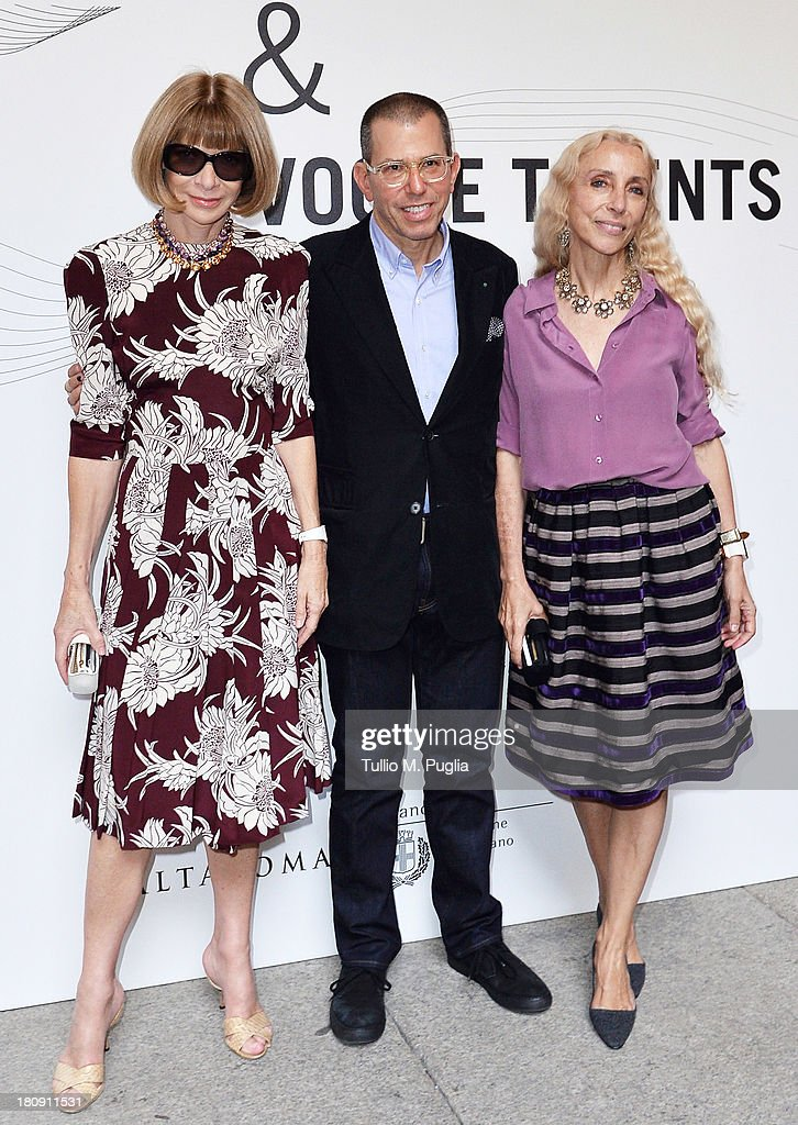 <a gi-track='captionPersonalityLinkClicked' href=/galleries/search?phrase=Anna+Wintour&family=editorial&specificpeople=202210 ng-click='$event.stopPropagation()'>Anna Wintour</a>, Jonathan Newhouse and <a gi-track='captionPersonalityLinkClicked' href=/galleries/search?phrase=Franca+Sozzani&family=editorial&specificpeople=639425 ng-click='$event.stopPropagation()'>Franca Sozzani</a> attend 'Who is On Next? & Vogue Talents' event at Palazzo Morando on September 17, 2013 in Milan, Italy.