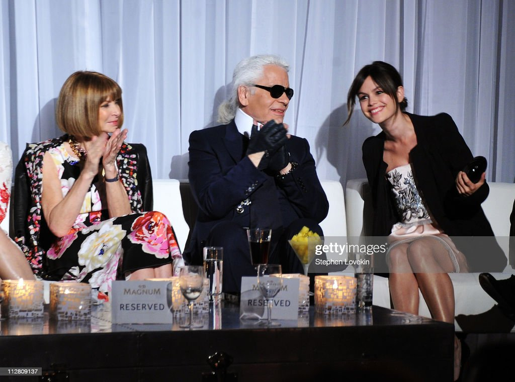 Anna Wintour, Karl Lagerfeld and Rachel Bilson attend the red carpet premiere of the Magnum Ice Cream Film Series during the Tribeca Film Festival. Created and directed by Lagerfeld and starring Bilson, the films mark the introduction of globally renowned Magnum ice cream in the United States.