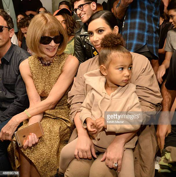 Anna Wintour Kim Kardashian West and North West attend Kanye West Yeezy Season 2 during New York Fashion Week at Skylight Modern on September 16 2015...