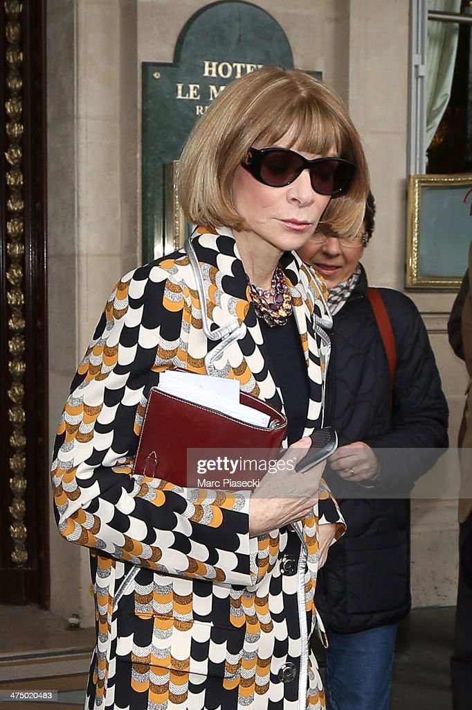 <a gi-track='captionPersonalityLinkClicked' href=/galleries/search?phrase=Anna+Wintour&family=editorial&specificpeople=202210 ng-click='$event.stopPropagation()'>Anna Wintour</a> leaves the ' Meurice' hotel on February 26, 2014 in Paris, France.