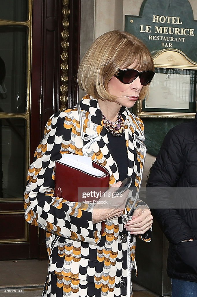 Anna Wintour leaves the ' Meurice' hotel on February 26, 2014 in Paris, France.