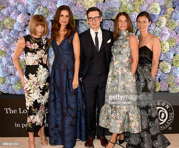 Anna Wintour Livia Firth Erdem Moralioglu Natalie Massenet and Sally Singer attend the London 2015 Green Carpet Collection By Erdem in partnership...