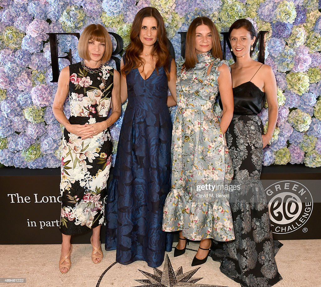 Anna Wintour Livia Firth Natalie Massenet and Sally Singer attend the London 2015 Green Carpet Collection By Erdem in partnership with MercedesBenz...