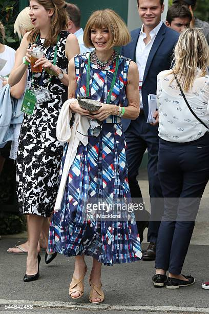 Anna Wintour seen arriving at Day 8 of Wimbledon on July 4 2016 in London England