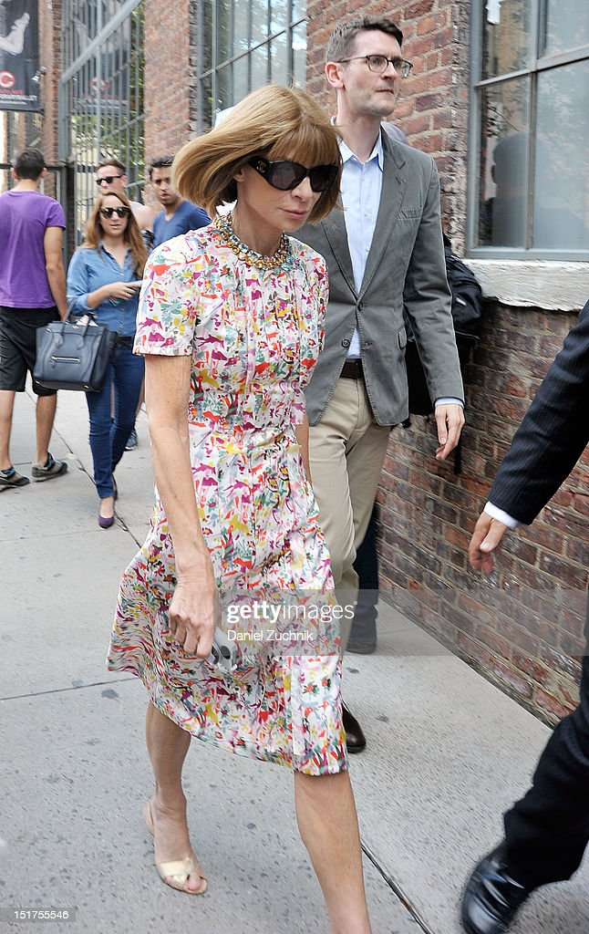 <a gi-track='captionPersonalityLinkClicked' href=/galleries/search?phrase=Anna+Wintour&family=editorial&specificpeople=202210 ng-click='$event.stopPropagation()'>Anna Wintour</a> seen outside the Donna Karen New York show on September 10, 2012 in New York City.