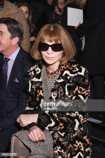 Anna Wintour sits front row at the Coach FW17 Show during Fashion Week at Pier 76 on February 14 2017 in New York City