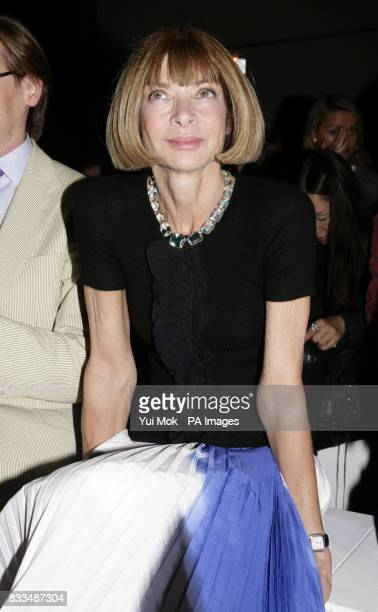 Anna Wintour sits front row at the Gareth Pugh show during London Fashion Week at the BFC Tent Natural History Museum in London