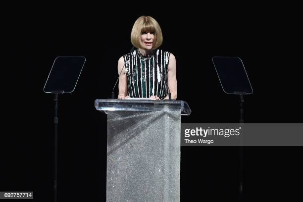 Anna Wintour speaks onstage during the 2017 CFDA Fashion Awards at Hammerstein Ballroom on June 5 2017 in New York City