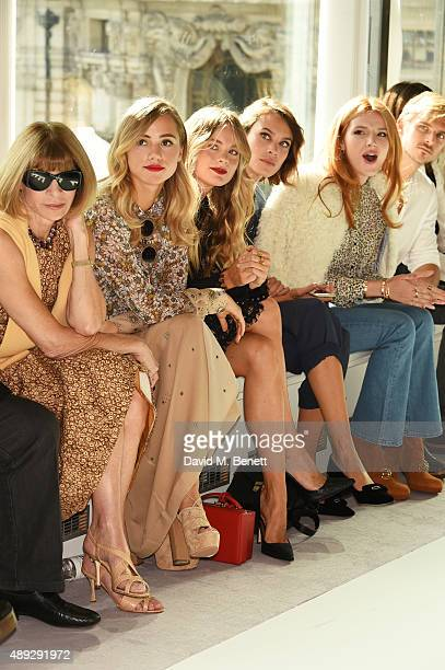 Anna Wintour Suki Waterhouse Cressida Bonas Alexa Chung Bella Thorne and Brandon Green attend the Topshop Unique show during London Fashion Week SS16...