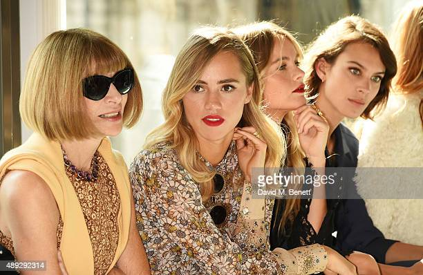 Anna Wintour Suki Waterhouse Cressida Bonas and Alexa Chung attend the Topshop Unique show during London Fashion Week SS16 at The Queen Elizabeth II...