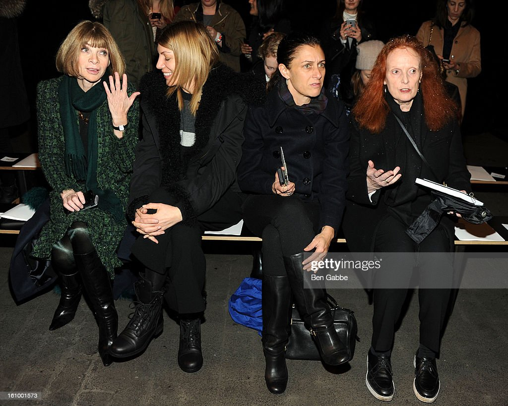 <a gi-track='captionPersonalityLinkClicked' href=/galleries/search?phrase=Anna+Wintour&family=editorial&specificpeople=202210 ng-click='$event.stopPropagation()'>Anna Wintour</a>, <a gi-track='captionPersonalityLinkClicked' href=/galleries/search?phrase=Virginia+Smith&family=editorial&specificpeople=220533 ng-click='$event.stopPropagation()'>Virginia Smith</a>, Sally Singer and <a gi-track='captionPersonalityLinkClicked' href=/galleries/search?phrase=Grace+Coddington&family=editorial&specificpeople=1706831 ng-click='$event.stopPropagation()'>Grace Coddington</a> attend the Rag & Bone Women's fall 2013 fashion show during Mercedes-Benz Fashion Week at Skylight Studios at Moynihan Station on February 8, 2013 in New York City.