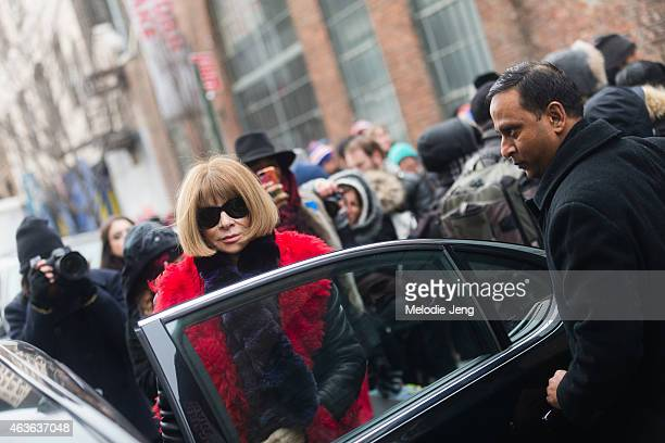 Anna Wintour Vogue Magazine Editor In Chief exits the Donna Karen show at Streets of Manhattan on February 15 2015 in New York City