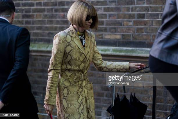 Anna Wintour wearing a snake skin coat outside Simone Rocha during London Fashion Week September 2017 on September 16 2017 in London England