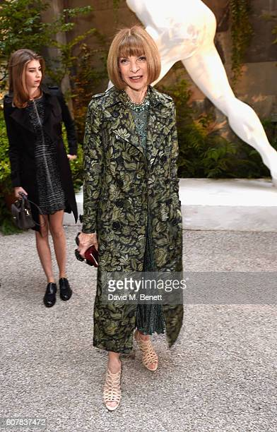 Anna Wintour wearing Burberry at the Burberry September 2016 show during London Fashion Week SS17 at Makers House on September 19 2016 in London...