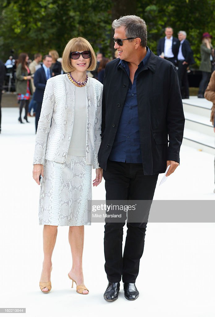 <a gi-track='captionPersonalityLinkClicked' href=/galleries/search?phrase=Anna+Wintour&family=editorial&specificpeople=202210 ng-click='$event.stopPropagation()'>Anna Wintour</a>and <a gi-track='captionPersonalityLinkClicked' href=/galleries/search?phrase=Mario+Testino&family=editorial&specificpeople=203087 ng-click='$event.stopPropagation()'>Mario Testino</a> attend the front row for the Burberry Prorsum show on day 4 of London Fashion Week Spring/Summer 2013 on September 17, 2012 in London, England.