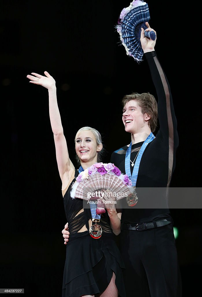 Anna Yanovskaya and Sergey Mozgov of Russia pose with their medals during the victory ceremony for the junior ice dance during day four of the ISU Grand Prix of Figure Skating Final 2013/2014 at Marine Messe Fukuoka on December 8, 2013 in Fukuoka, Japan.