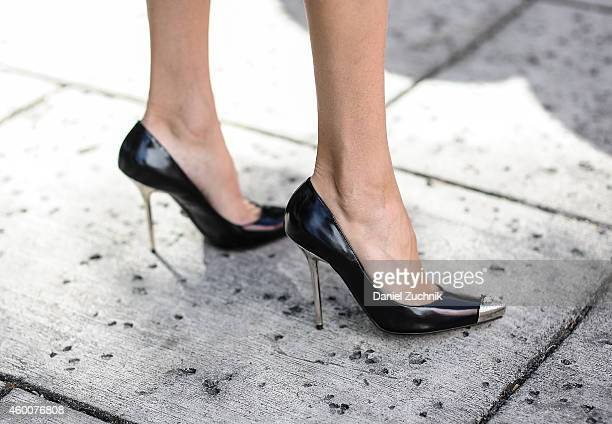 Anna Zaytseva is seen outside the Miami Project wearing Versace heels on December 6 2014 in Miami Beach Florida