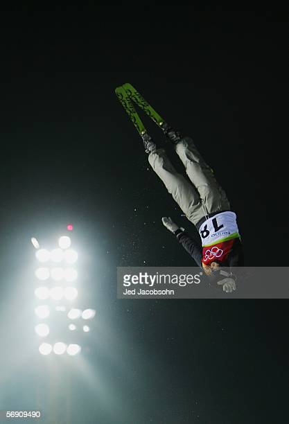 Anna Zukal of Russia competes in the Womens Freestyle Skiing Aerials Final on Day 12 of the 2006 Turin Winter Olympic Games on February 22 2006 in...