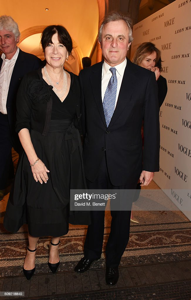 Annabel Astor (L) and Viscount William Astor attend a private view of 'Vogue 100: A Century of Style' hosted by Alexandra Shulman and Leon Max at the National Portrait Gallery on February 9, 2016 in London, England.