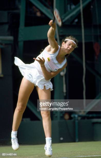 Annabel Croft of Great Britain in action during a women's singles match at the Wimbledon Lawn Tennis Championships in London circa June 1985 Croft...
