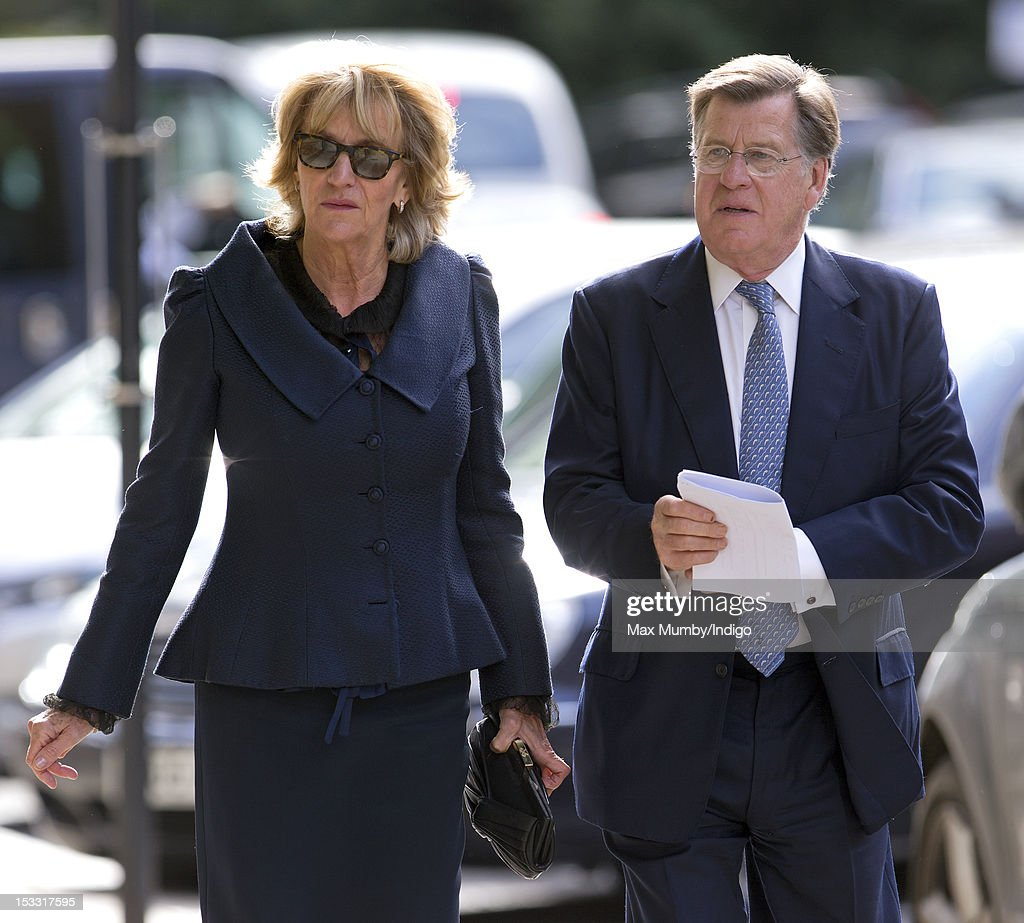 Annabel Elliot and Simon Elliot attend a memorial service for Alistair Vane-Tempest-Stewart, 9th Marquess of Londonderry at St Paul's Church, Knightsbridge on October 3, 2012 in London, England.