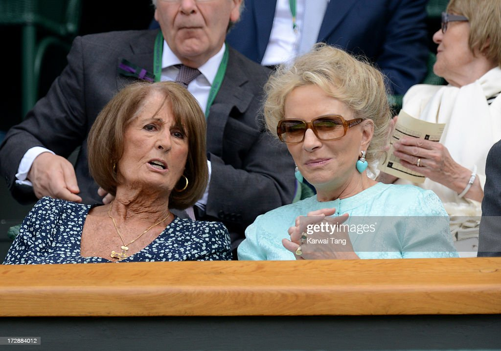 Annabel Goldsmith and HRH <a gi-track='captionPersonalityLinkClicked' href=/galleries/search?phrase=Princess+Michael+of+Kent&family=editorial&specificpeople=160260 ng-click='$event.stopPropagation()'>Princess Michael of Kent</a> attend Day 11 of the Wimbledon Lawn Tennis Championships at the All England Lawn Tennis and Croquet Club on July 5, 2013 in London, England.