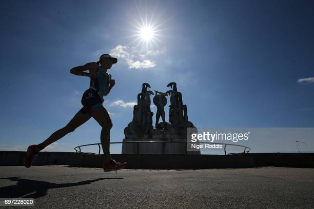 Annabel Luxford of Australia in action during the run section of KMD IRONMAN 703 European Championship Elsinore on June 18 2017 in Helsingor Denmark