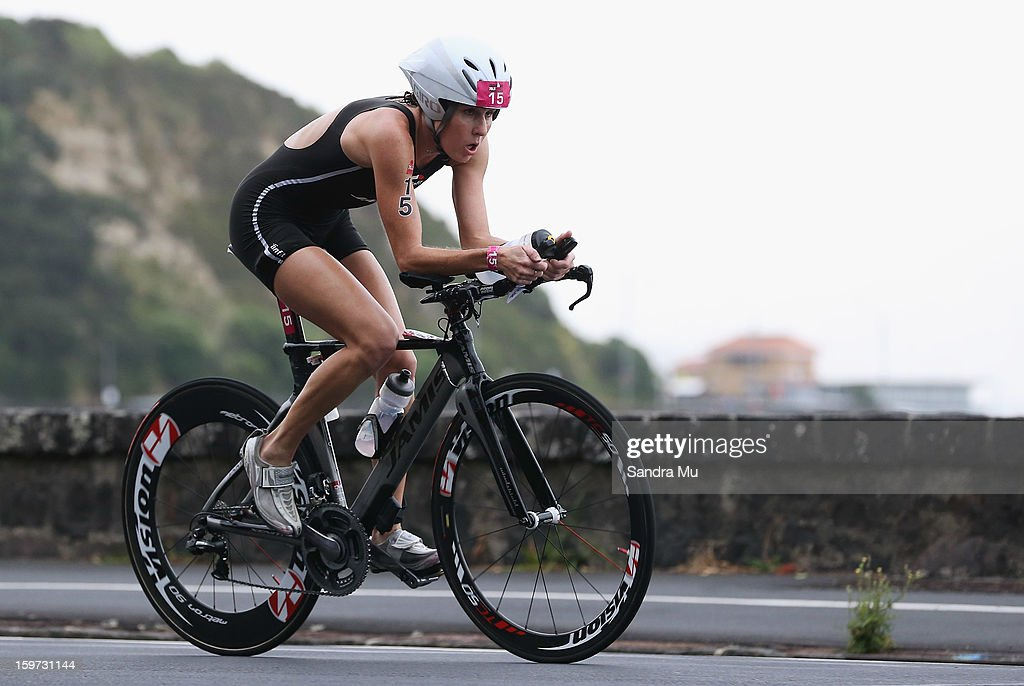 Annabel Luxford of Australia in action on the cycle leg during the Ironman 70.3 Auckland triathlon on January 20, 2013 in Auckland, New Zealand.