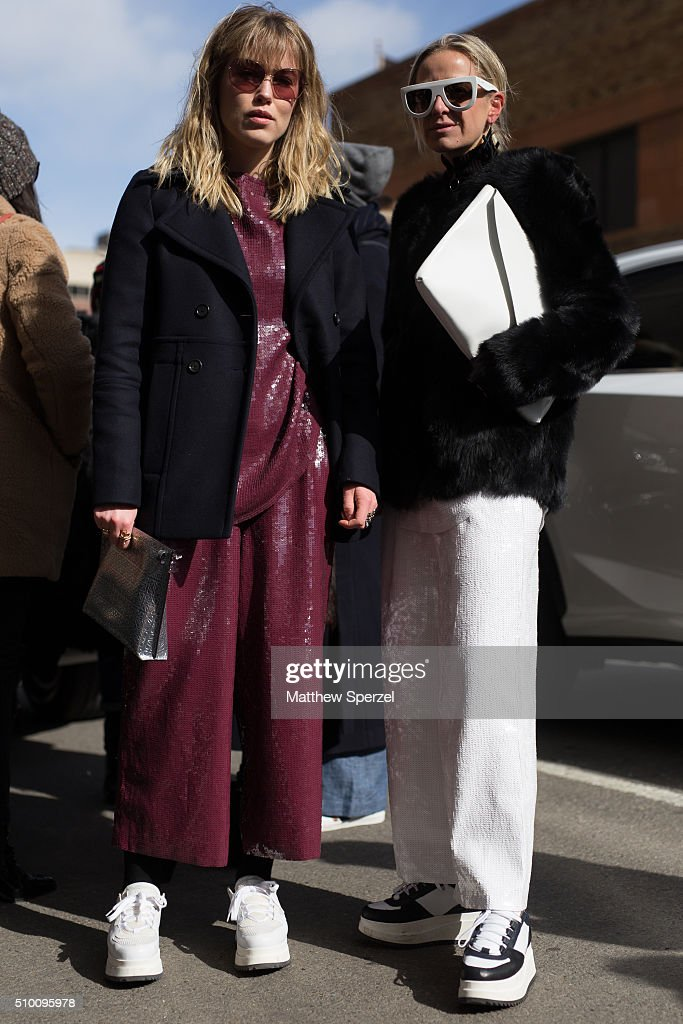 Annabel Rosendahl and Celine Aagaard are seen at Rebecca Minkoff during New York Fashion Week: Women's Fall/Winter 2016 on February 13, 2016 in New York City.