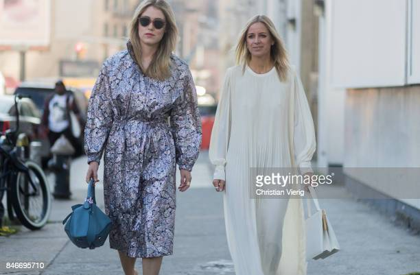 Annabel Rosendahl and Celine Aagaard seen in the streets of Manhattan outside Michael Kors during New York Fashion Week on September 13 2017 in New...