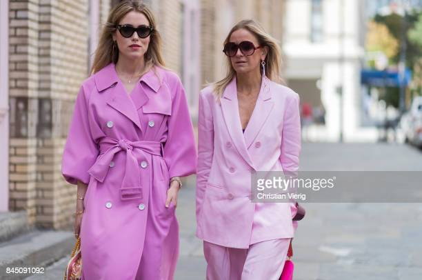 Annabel Rosendahl and Celine Aagaard wearing pink dress and suit seen in the streets of Manhattan outside Tibi during New York Fashion Week on...