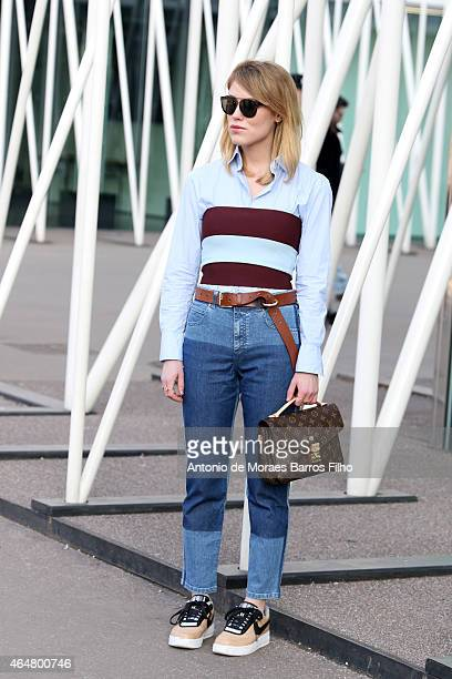 Annabel Rosendhal is seen in the streets of Milan arriving at the Jil Sander show during Milan Fashion Week 2015 on February 28 2015 in Milan Italy