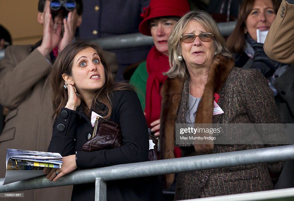 Annabel Waley-Cohen (L) watches her husband Sam Waley-Cohen ride Frisco Depot in the United House Gold Cup Handicap Steeple Chase at Ascot Racecourse on November 03, 2012 in Ascot, England.