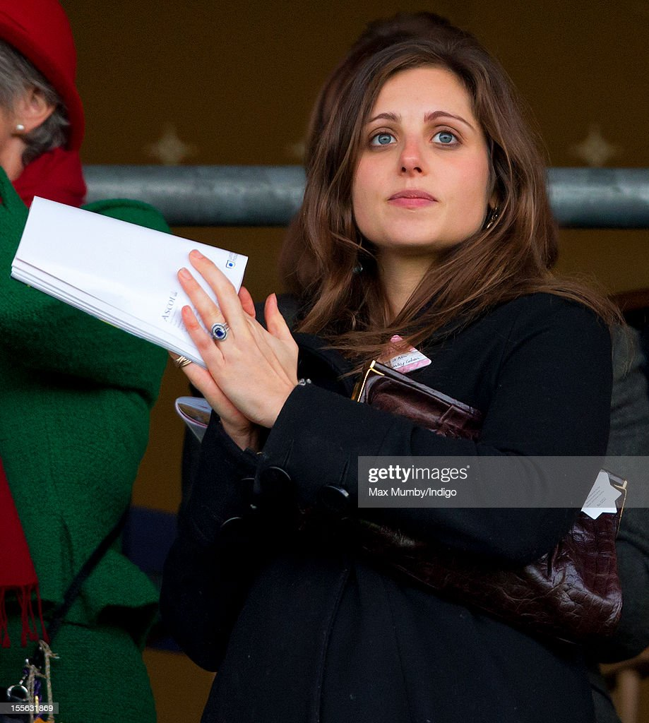 Annabel Waley-Cohen watches her husband Sam Waley-Cohen ride Frisco Depot in the United House Gold Cup Handicap Steeple Chase at Ascot Racecourse on November 03, 2012 in Ascot, England.