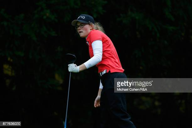 Annabel Wilson hits a shot during Curtis Cup practice at Quaker Ridge GC on November 22 2017 in Scarsdale New York