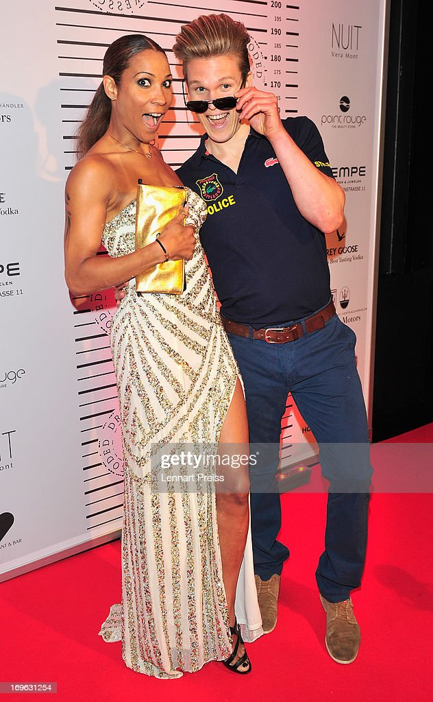 Annabell Mandeng poses with a model during the Dressvegas Party at Heart Private Club on May 29, 2013 in Munich, Germany.