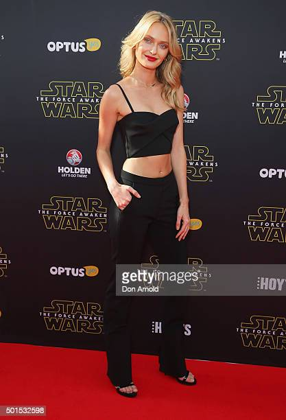 Annabella Barber arrives ahead of the 'Star Wars The Force Awakens' Australian premiere on December 16 2015 in Sydney Australia